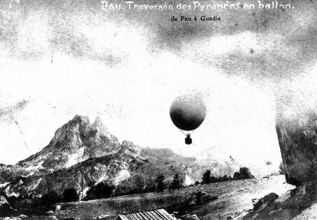 Carte postale, traversée des Pyrénées en 1906